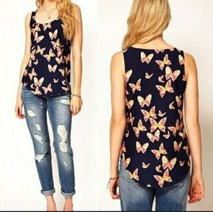 Tops - Butterfly print sleeveless top